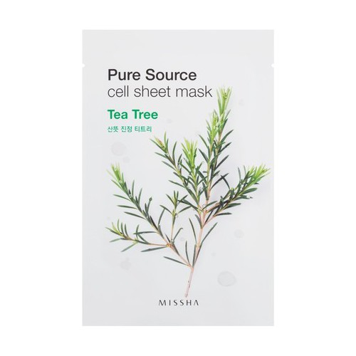 Missha Pure source cell sheet mask oma roheline tee ekstrakt 21g