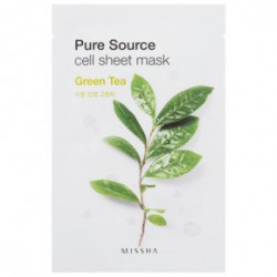 Missha Pure source cell sheet mask oma roheline tee ekstrakt 21gRoheline tee